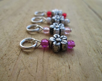 Pink & Silver Flower Knitting Stitch Markers