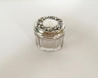 Vintage Sterling Silver and Glass Dresser Jar, Sterling Silver Rouge Pot