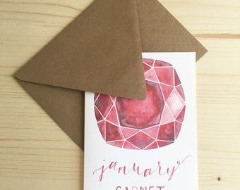 January Garnet Card, Birthstone Card, Garnet Card
