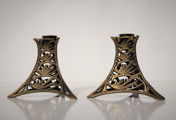 Vintage candle holders pair art nouveau arts crafts style for Arts and crafts candle sconces