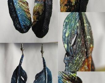 Wooden Feather Earrings: Twilight