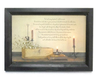The Lord is My Shepherd, 23rd psalm, Candles, Bible, Prayer, Art Print, Wall Hanging, Handmade, 21X15, Custom Wood Frame, Made in the USA
