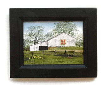 Tulip Quilt Block Barn, Barn Picture, Billy Jacobs, Art Print, Primitive Decor, Wall Hanging, Handmade, 9X7, Custom Wood Frame, Made in USA