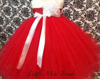 Red Flower Girl Tutu Dress, Red And white lace flower girl Tutu Dress, Red Tutu Dress, Flower Girl Dress Red, Birthday Tutu Dress