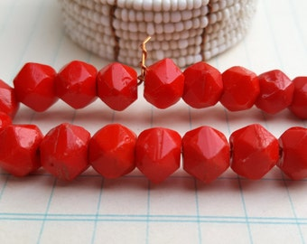 20 Bright Red, English Cut, Vintage Czech Glass Beads-9mm-Faceted