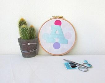 Custom embroidery art, hand embroidered initial hoop, nursery hoop art, letter hoop, pastel nursery decor, monogram art, Handmade in the UK