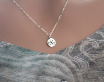 Sterling Silver Simple X Initial Necklace, Silver Stamped X Necklace, Stamped X Initial Necklace, Small X Initial Necklace, X Initial Charm