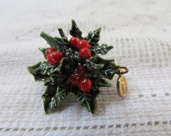 vintage 60's  Christmas holly spray brooch pin with Mary medal