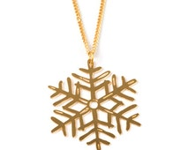Gold Snowflake Necklace, Winter Necklace, Snow Flake Pendant, Everyday Jewelry