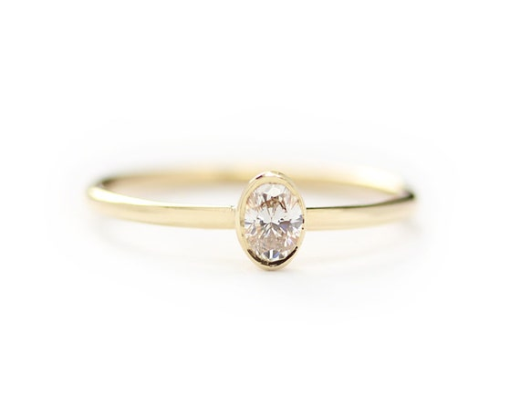 Oval Diamond Engagement Ring Oval Shape Diamond by KHIMJEWELRY