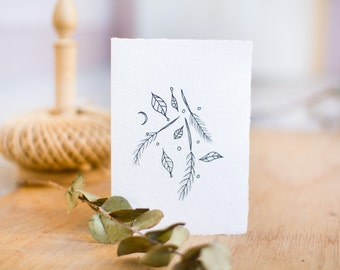 Card made from recycled handmade paper with Leaves and Feathers design by Cliffwatcher
