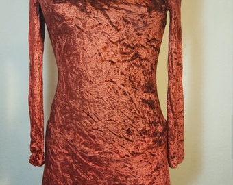 FREE  SHIPPING  Vintage  Crushed Velvet Mini Dress