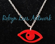 Red Laser Cut Eye Necklace on Silver or Gold Chain