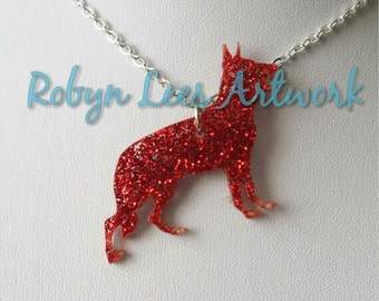 Glittered Red German Shepherd Laser Cut Dog Necklace on Silver Crossed Chain