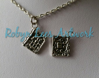 Small Filigree Silver Witch's Spell Book Spellbook Charm Necklace on Silver Crossed Chain, Wiccan, Witchcraft, Spells, Magic