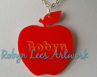 Custom Name Engraved Red Laser Cut Apple Necklace on Silver or Gold Crossed Chain or Black Faux Suede Cord, Customised, Letter