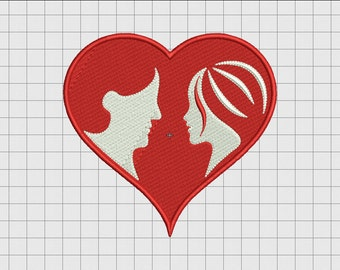 Heart Romance Couple Embroidery Design in 3x3 4x4 5x5 and 6x6 Sizes