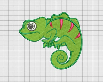 Chameleon Lizard Iguana Embroidery Design in 4x4 5x5 and 6x6 Sizes