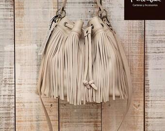 Natural bucket bag, fringes bag, medium fringe purse, cream leather bag