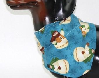 Dog Bandana, Dog Scarf, Dog Collar Bandana, Dog Accessories, Pet Accessories, Pet Bandana, Free Shipping US, Rustic Country Snowmen Cotton
