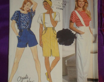 1990s 90s Vintage CHRISTIE BRINKLEY Suspender Shorts Pants Skirt Top UNCUT Simplicity Pattern 9740 Bust 29.5 to 32.5 Inches 75 to 83 Metric