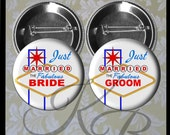 "2.25"" Just Married Pins, Las Vegas Wedding, Las Vegas Honeymoon Buttons, Bride and Groom Pins, Las Vegas Bride and Groom, Wedding Keepsake"
