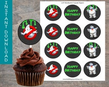 Ghostbusters Cupcake Toppers printable and digital file | slime ghost Staypuft