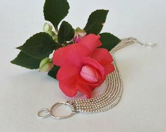 Silver Beaded Multi Strand Bracelet