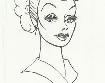 "LUCILLE BALL ""Lucy Ricardo"" original pencil drawing for the US postage stamp"