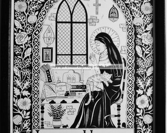 Julian of Norwich ~ Patron Saint of Cats & Contemplatives. A high quality, framed A4 print of an original artwork by ©Helen Zwerdling