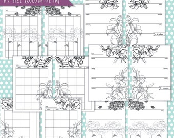 A5, COLOUR/COLOR me in Floral week and month on 2 pages Filofax printable (Arc notebook/disc binder)