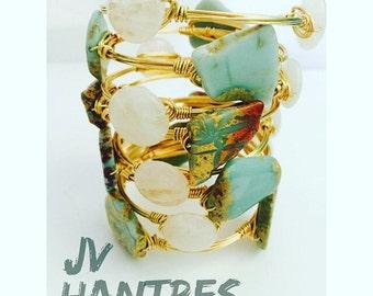 African Opal Jasper / White-Clear Quartz Bangle Set - Qty 2