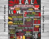 "BBQ/Picnic Birthday Stat ""Chalk board"" (Digital Poster) ANY COLORS"
