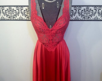 1960's Red Olga Floor Length Bombshell Nightgown, Style 92770, Size Medium, Vintage Olga Wedding Teddy, Olga Bridal Lingerie, Olga 92770