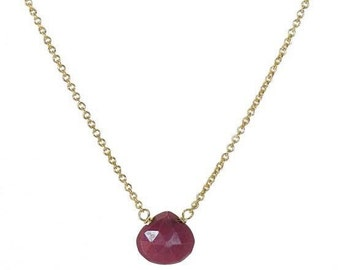 Ruby/Sapphire/Emerald heart briolette necklace