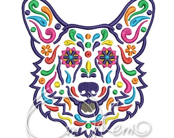MACHINE EMBROIDERY DESIGN - Calavera Welsh Corgi, Dia de los muertos, Mexican design, Halloween design, calavera dog, Day of the dead