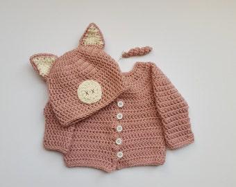 Newborn Halloween Costume, Baby Halloween Costume, Baby Pig Hat and Sweater, Newborn Photo Prop, Newborn Photo, Newborn Pig, Piggy Hat