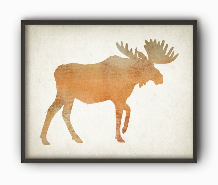 watercolor moose wall art print wood hunting lodge decor