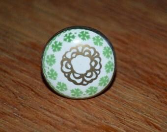 Ceramic cabinet knob/drawer pull/furniture knob in Celtic design-Seconds/Defective