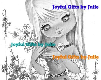 5 Grayscale Coloring Book Pages 1960's Little Girl Retro