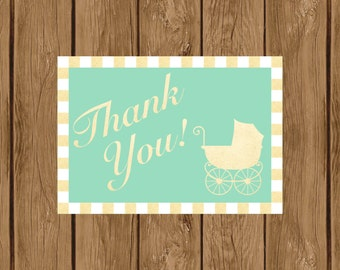 Mint and Gold Thank You Card, Baby Shower Thank You Card, Gender Neutral Baby Shower Thank You Card, Printable Baby Shower Thank You, 010