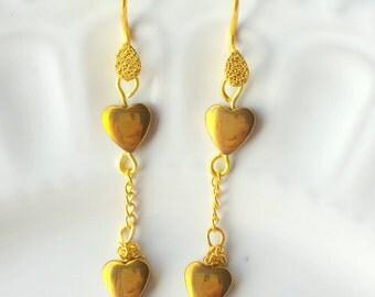 Hematite Heart Earrings, Hematite Earrings, Magnetic Earrings, Gold Earrings, Dangle Chain Earrings, Boho Earrings, Gemstone Earrings