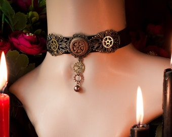 Velvet Steampunk Choker, Gear Necklace, Victorian Steampunk Choker