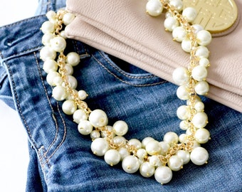 The Estelle Pearl Statement Necklace in Gold, Chunky Pearl Bib Necklace, Pearl Cluster Necklace, Pearl Bubble Necklace, Bridesmaid Necklace