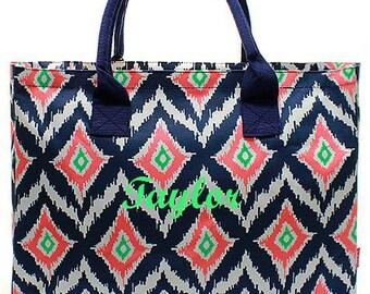 IKAT Monogrammed Tote Bag  Large IKAT Personalized Tote Bag