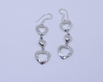 Silver Dangle Earrings. Sterling Silver 925 Hammered  Hearts, smaller Heart Dangle  Earrings.
