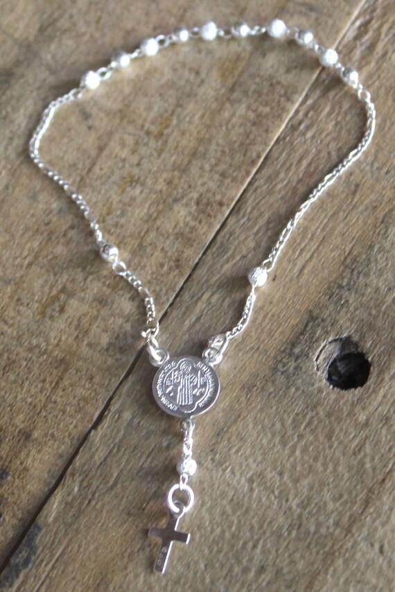 Pulsera rosario de plata pulsera rosario de plata 925 san - Como limpiar un rosario de plata ...