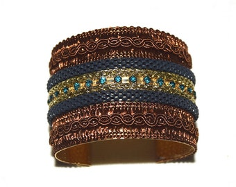 Handmade Boho Style Cuff Bracelet -  2 inches - Chiapan - Brown/Green Crystals