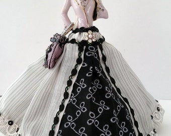 SECRET SALE~Porcelain Half Doll, Pincushion, Dresser Doll, Boudoir Doll, Fashion Art Doll-OOAK Signed & Dated Original Artists design.