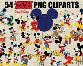 Disney Mickey Mouse and Minnie Mouse Cliparts, 54 Images in 300 PPI PNG Transparent Background, Printable Digital Graphics